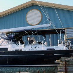 Moody 54 Bimini, design 2 with aft extension panel, ref Breth_1