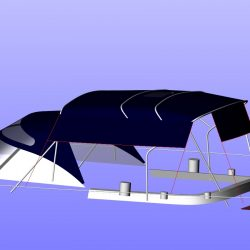 Moody 54 Bimini, design 2 with aft extension panel, ref Breth_10