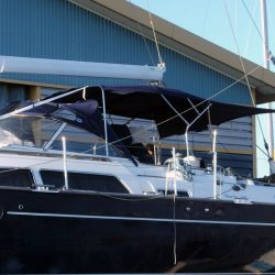 Moody 54 Bimini, design 2 with aft extension panel, ref Breth_2