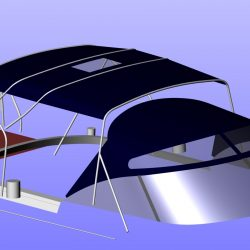 Moody 54 Bimini, design 2 with aft extension panel, ref Breth_5