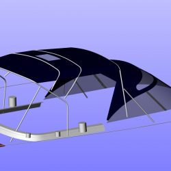 Moody 54 Bimini, design 2 with aft extension panel, ref Breth_6