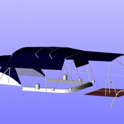 Moody 54 Bimini, design 2 with aft extension panel, ref Breth_7