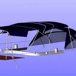 Moody 54 Bimini, design 2 with aft extension panel, ref Breth_8