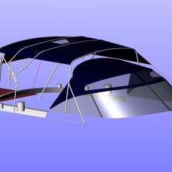 Moody 54 Bimini, design 2 with aft extension panel, ref Breth_9