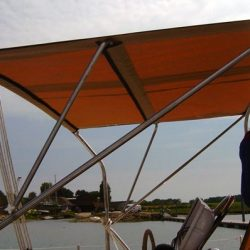 Southerly 135 Bimini fitted to factory fitted arch_1