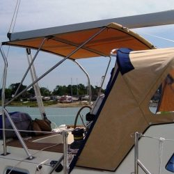 Southerly 135 Bimini fitted to factory fitted arch_2