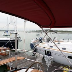 Southerly 47 non standard higher Bimini showing zips fitted for optional Bimini conversion_7
