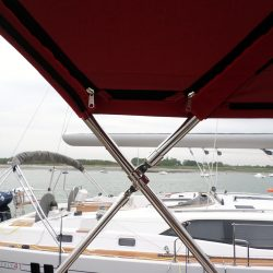 Southerly 47 non standard higher Bimini showing zips fitted for optional Bimini conversion_8