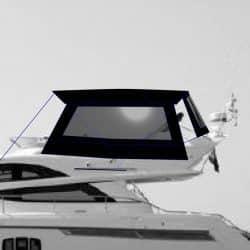 Fairline Phantom 48, Flybridge Bimini Side Shade Panels with windows_9