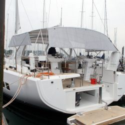 Hanse 548 Bimini shown with Mesh Side Shade Panels_2