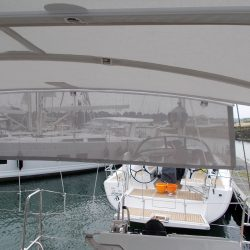 Hanse 548 Bimini shown with Mesh Side Shade Panels_3