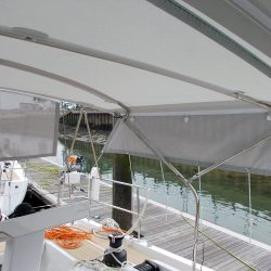 Hanse 548 Bimini shown with Mesh Side Shade Panels_4