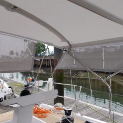 Hanse 548 Bimini shown with Mesh Side Shade Panels_5