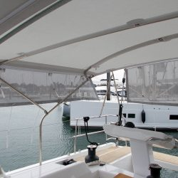 Hanse 548 Bimini shown with Mesh Side Shade Panels_6