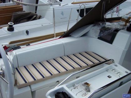 Jeanneau Sun Odyssey 379 Cockpit Cushions in optional extra striped fabric_1