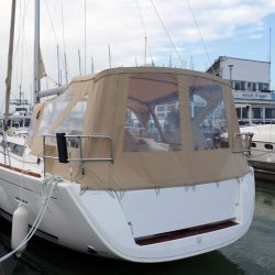 Dufour 450 Cockpit Enclosure fitted to factory supplied Sprayhood_5