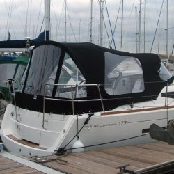 Jeanneau Sun Odyssey 379 Cockpit Enclosure fitted to Tecsew Sprayhood with optional extra windows_5