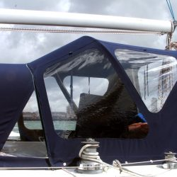Moody 44 Cockpit Enclosure, Morning Spirit, utilising same design Sprayhood as on Fiddlers Dream_2