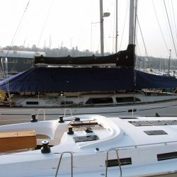 Moody 46 Deck Cover fitted with blinds and windows_2