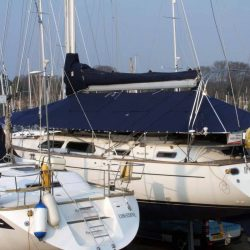 Moody 46 Deck Cover fitted with blinds and windows_3