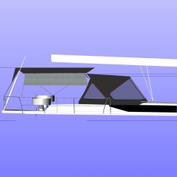 Approximate height from cockpit floor, shown with Tecsew Bimini