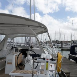 Beneteau Oceanis 38 Sprayhood shown with optional Bimini_5