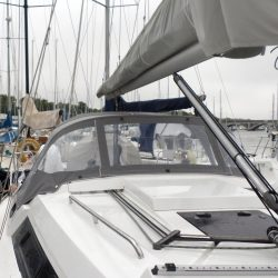 Hanse 320 Sprayhood recover for factory fit original shown with optional roll up centre window_1