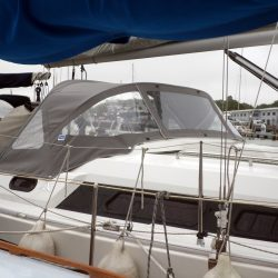 Hanse 320 Sprayhood recover for factory fit original shown with optional roll up centre window_3