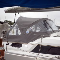 Hanse 320 Sprayhood recover for factory fit original shown with optional roll up centre window_4