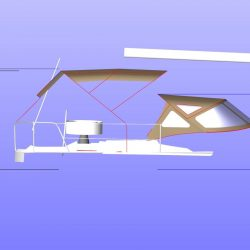 Approximate height from cockpit floor, shown with optional Bimini