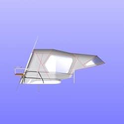 Najad 355 Sprayhood recover shown with optional Cockpit Enclosure