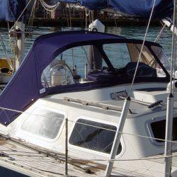 Oyster 435 Sprayhood recover, Aithina in Sunbrella Supreme_3