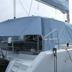 Lagoon 450 tied out Sun Shade panels_1