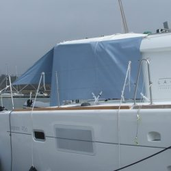 Lagoon 450 tied out Sun Shade panels_2