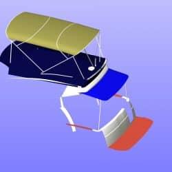 Beneteau Antares 30 Flybridge Tonneau Cover CAD, shown with Bimini design_6