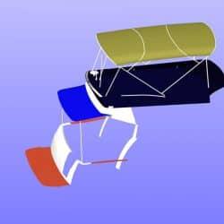 Beneteau Antares 30 Flybridge Tonneau Cover CAD, shown with Bimini design_7