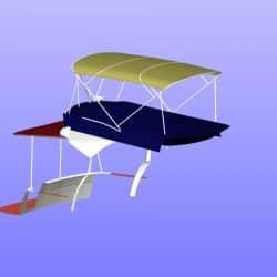 Beneteau Antares 30 Flybridge Tonneau Cover CAD, shown with Bimini design_8