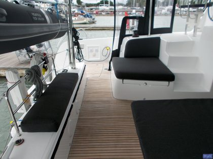 lagoon 42 deluxe cockpit cushions sunbathing mattress and helm seat 10