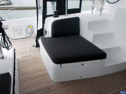 lagoon 42 deluxe cockpit cushions sunbathing mattress and helm seat 11