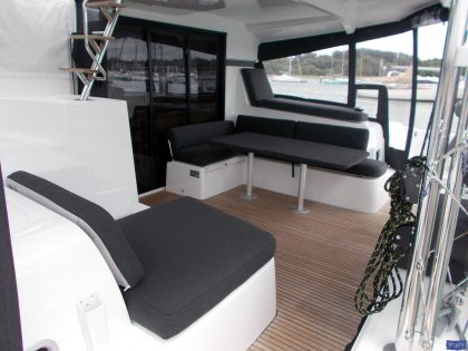 lagoon 42 deluxe cockpit cushions sunbathing mattress and helm seat 5