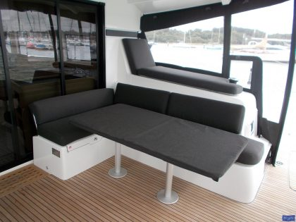lagoon 42 deluxe cockpit cushions sunbathing mattress and helm seat 6