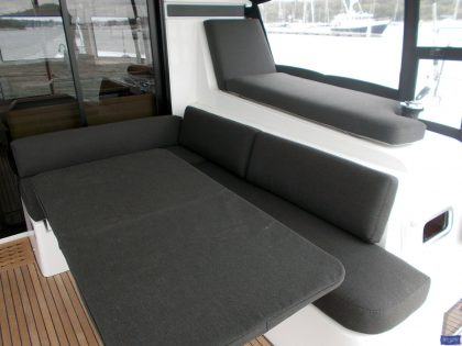 lagoon 42 deluxe cockpit cushions sunbathing mattress and helm seat 7