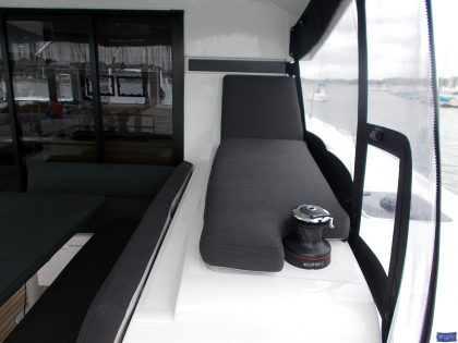 lagoon 42 deluxe cockpit cushions sunbathing mattress and helm seat 8