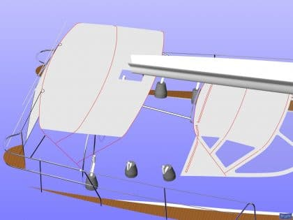 sweden 54 helm bimini with sprayhood connector and side shade panels 16