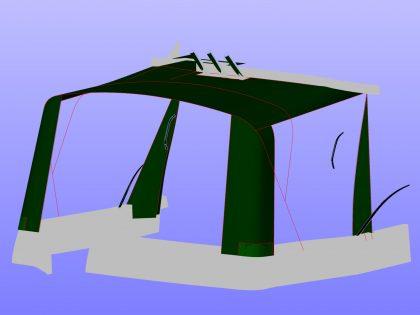 Aft Corner showing Rear & Sides Rolled, leaving frame, aft corner canvas and canvas covering side deck