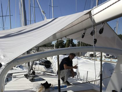 Beneteau Oceanis 46.1 with ARCH Sun Awnings front 1