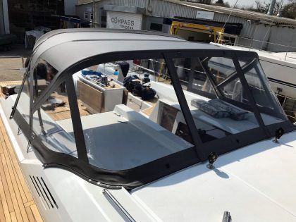 Beneteau Oceanis 51.1, model with NO ARCH, Sprayhood conventional design with NO zipped removable sides front 1