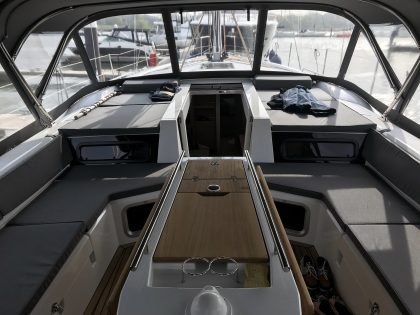 Beneteau Oceanis 51.1, model with NO ARCH, Sprayhood conventional design with NO zipped removable sides interior