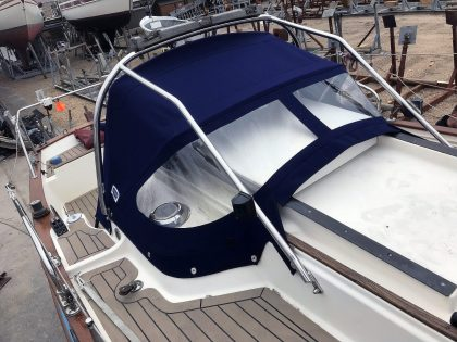 Yarmouth 23, JABIRU, Sprayhood recover on factory supplied frame front 2