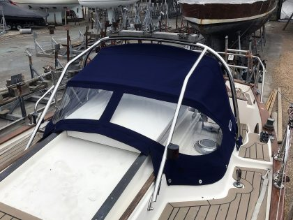Yarmouth 23, JABIRU, Sprayhood recover on factory supplied frame front 3